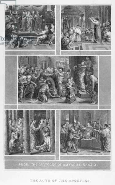 RAPHAEL: BIBLE CARTOONS The Acts of the Apostles. Line engraving, 19th century, after the cartoons by Raphael.