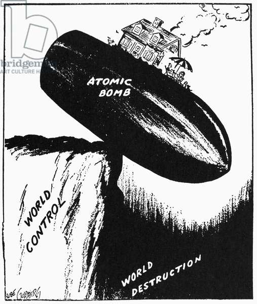 CARTOON: COLD WAR, 1948 'Peace Today.' Pulitzer Prize winning cartoon comment on the precarious position of world peace. Cartoon by Rube Goldberg, 1948.