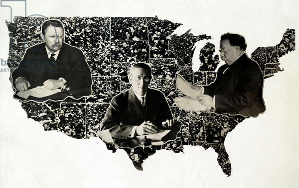 PRESIDENTIAL MAP, c.1912 Photomontage of Presidents Theodore Roosevelt, Woodrow Wilson and William Howard Taft on a map of the United States, c.1912.