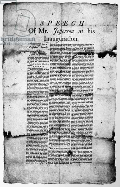 JEFFERSON: INAUGURATION Broadside of the inaugural speech made by President Thomas Jefferson, 4 March 1801.