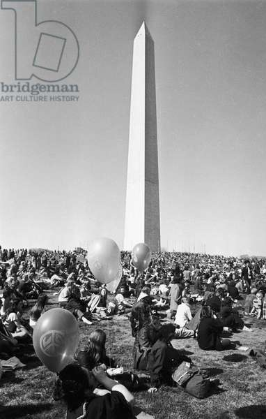 VIETNAM WAR PROTEST, 1971. Demonstrators gathered at the Washington Monument in Washington, D.C. before marching to the Capitol to show opposition to the Vietnam War, April 1971.