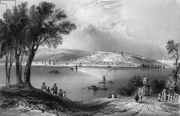 SERBIA: BELGRADE A view of Belgrade at the confluence of the Danube and Sava Rivers in the principality of Serbia, on the frontier between the Ottoman and Austrian Empires. Steel engraving, English, 1844, after William Henry Bartlett.