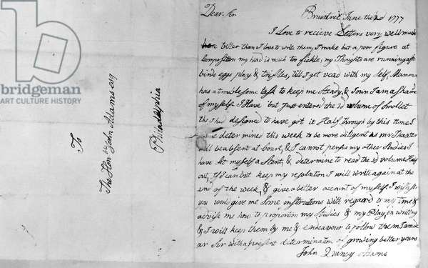 ADAMS: LETTER, 1777 Letter to John Adams from his 10 year old son, John Quincy Adams, June 1777.
