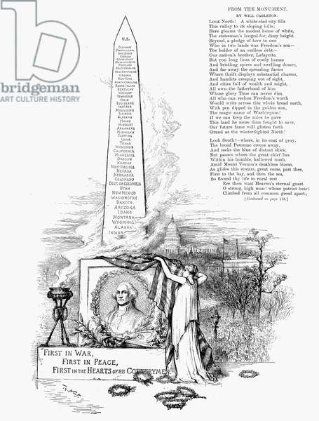 WASHINGTON MONUMENT Allegorical representation of the dedication of the Washington Monument in February 1885. Contemporary wood engraving by Thomas Nast.