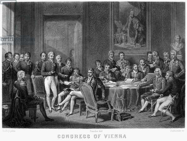 CONGRESS OF VIENNA, 1815 The Congress of Vienna, 1815. Arthur Wellesley, Duke of Wellington stands at far left, Prince Klemens von Metternich stands sixth from left, Robert Castlereagh is seated at center, and Prince Charles Talleyrand is seated second from right. Line engraving by Outhwaite after Jean Baptiste Isabey.