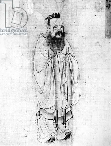 CONFUCIUS (c551-479 B.C.) Chinese philospher. Silk painting by an unknown artist.