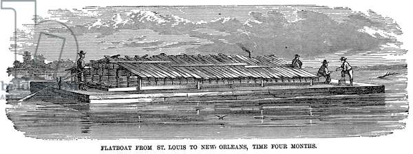 MISSISSIPPI: FLATBOAT An early-19th century flatboat on the Mississippi River, traveling from St. Louis to New Orleans in four months. Wood engraving, 19th century.