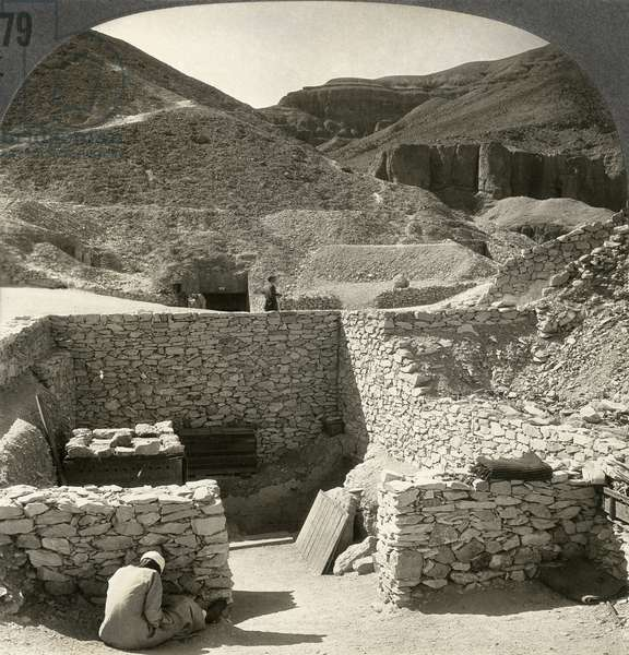 TOMB OF TUTANKHAMUN 'Tomb of Tutankhamun, Valley of the Kings, Egypt.' Stereograph, c.1922.