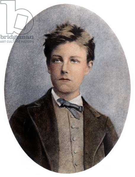 ARTHUR RIMBAUD (1854-1891) French poet. Oil over a photograph, n.d.