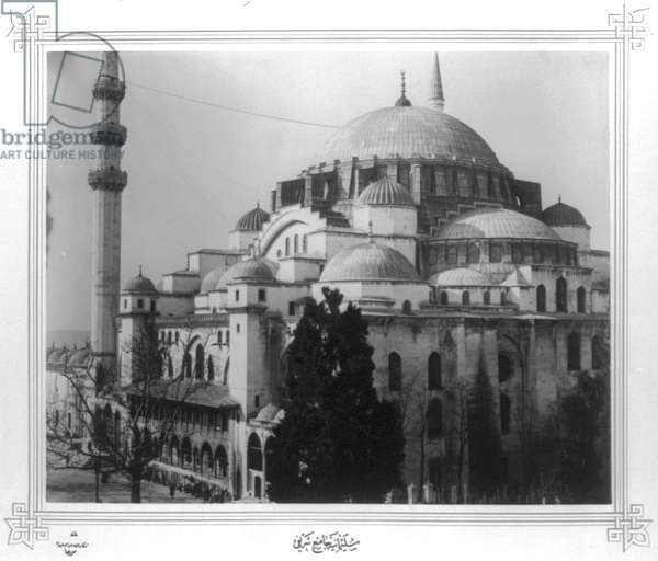 SULEYMANIYE MOSQUE Ottoman imperial mosque in Istanbul, Turkey, built by Sultan Suleiman I, 16th century. Photograph, c.1890.