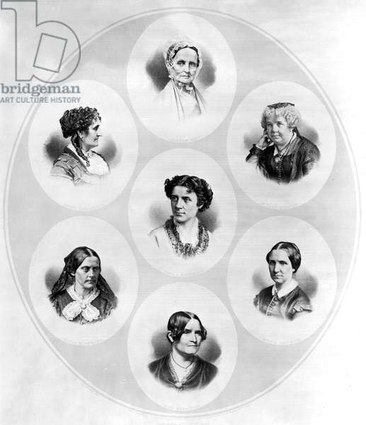 WOMEN'S RIGHTS MOVEMENT 'Representative Women.' Clockwise from top: Lucretia Mott, Elizabeth Cady Stanton, Mary Livermore, Lydia Maria Child, Susan B. Anthony, Grace Greenwood, Anna E. Dickinson. Lithograph, c.1870.