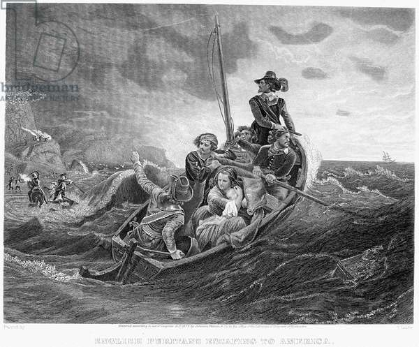 PURITAN FUGITIVES English Puritans escaping to America. Steel engraving, 1874, after a painting by Emanuel Leutze.