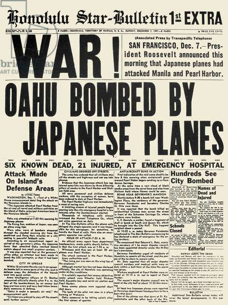 WORLD WAR II: PEARL HARBOR The front page of the Honolulu-Star Bulletin, 7 December 1941, announcing the Japanese attack on Pearl Harbor.