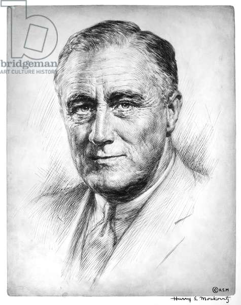 FRANKLIN DELANO ROOSEVELT (1882-1945). 32nd President of the United States. Etching, c.1933.