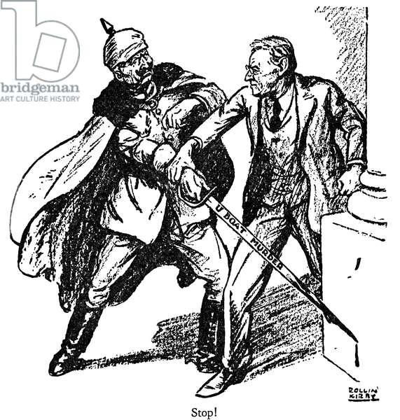 CARTOON: WILSON, 1916 'Wilson and the Kaiser.' American cartoon from the New York 'World,' showing President Woodrow Wilson trying to stop German submarine warfare. Cartoon by Rollin Kirby, 1916.