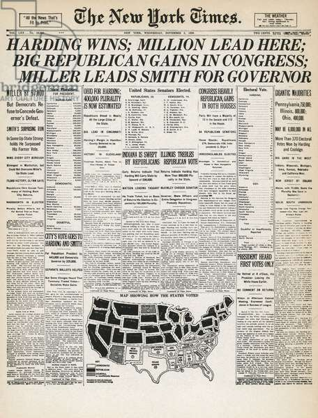 PRESIDENTIAL CAMPAIGN, 1920 Front page of the New York Times, 3 November 1920, announcing the victory of Republican candidate Warren G. Harding in the previous day's U.S. presidential election.