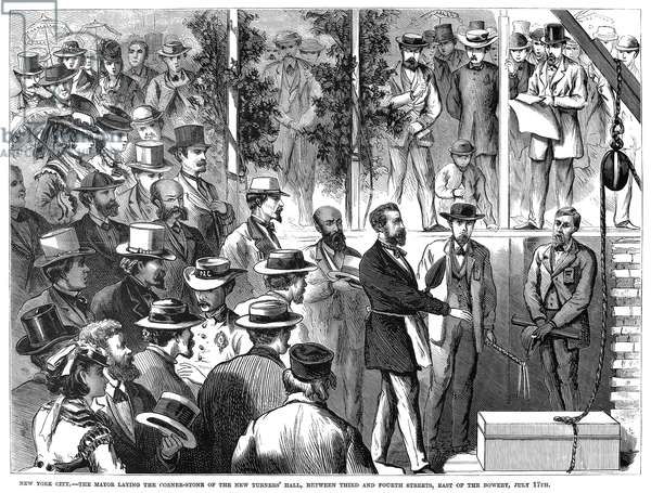 NEW YORK: TURNER'S HALL Mayor Abraham Oakey Hall laying the cornerstone of the new Turner's Hall on 4th Street between 2nd Avenue and the Bowery in New York City, 17 July 1871. Contemporary American wood engraving.