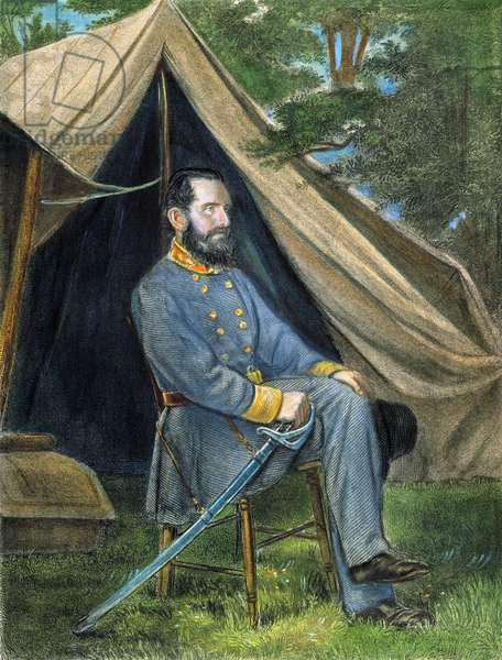 STONEWALL JACKSON (1824-1863). Thomas Jonathan 'Stonewall' Jackson. American Confederate general. Color engraving, 19th century.