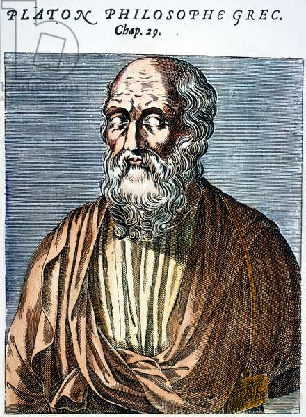 PLATO (c427-c347 B.C.) Greek philosopher. Line engraving, French, 1584.