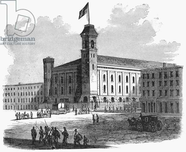 NEW YORK: DRAFT RIOTS The Armory on the corner of 35th Street and 7th Avenue during the New York City Draft Riots of 13-16 July 1863. Contemporary wood engraving from a German-language American newspaper.