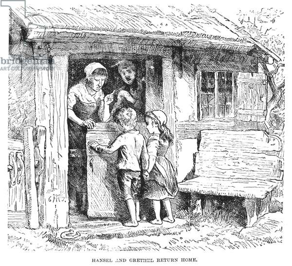 GRIMM: HANSEL AND GRETEL 'Hansel and Gretel return home.' Wood engraving, 19th century, for the fairy tale by the Brothers Grimm.