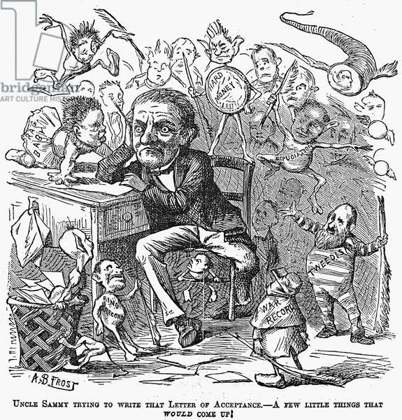 SAMUEL J. TILDEN (1814-1886) Samuel Jones Tilden. American political leader. Cartoon from an American newspaper of August 1876. 'Uncle Sammy trying to write that letter of acceptance. A few things that would come up!.'