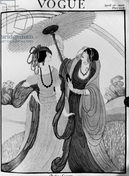 VOGUE MAGAZINE, 1920 Cover of the 15 April 1920 issue of the American edition of 'Vogue' magazine, featuring an illustration by Helen Dryden.