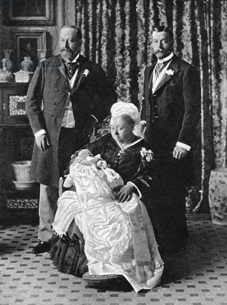 EDWARD VIII (1894-1972) King of Great Britain, 1936, later Duke of Windsor. On his christening day, with the Duke of York, George V; Queen Victoria; and the Prince of Wales, Edward VII. Photograph, 1894.