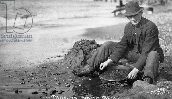 ALASKA: MINING, c.1915 A prospector panning for gold in Nome, Alaska. Photograph, c.1915.