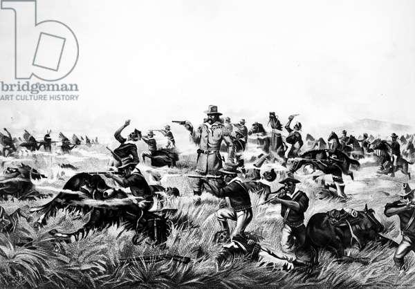 CUSTER'S LAST FIGHT, 1876 Lithograph, American, 1899.