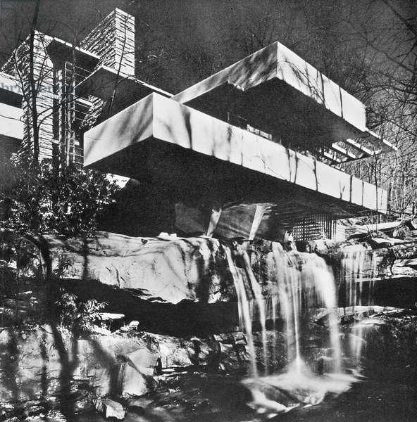 WRIGHT: KAUFMANN HOUSE The Edgar J. Kaufmann House at Bear Run, Pennsylvania, designed by Frank Lloyd Wright, 1935.