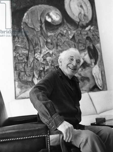 MARC CHAGALL (1887-1985) French (Russian-born) painter. Photographed in the living room of his home in Saint-Paul de Vence, France, 1977 (b/w photo)