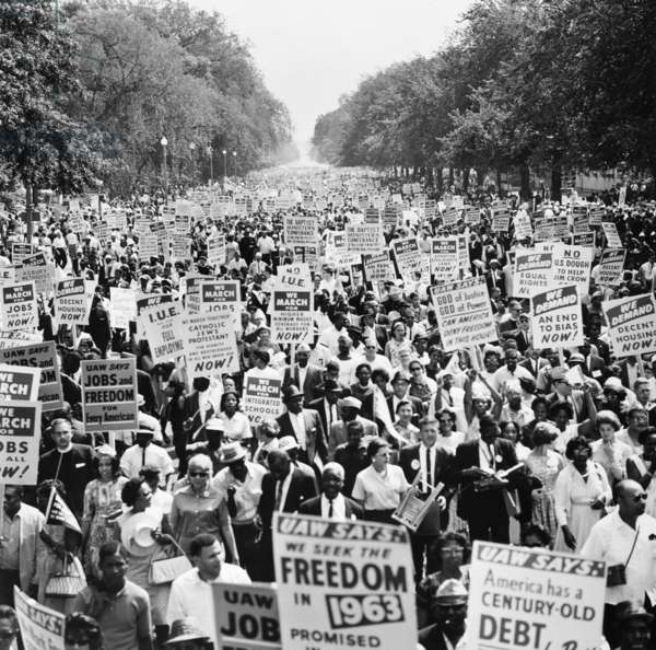 MARCH ON WASHINGTON. 1963 Participants in the March on Washington for Jobs and Freedom, 28 August 1963, marching up Constitution Avenue to the Lincoln Memorial.