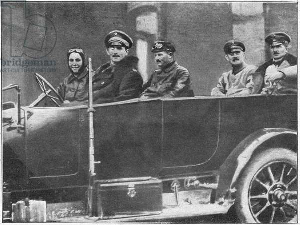 WORLD WAR I: EASTERN FRONT German officers in a car on the Eastern Front. At left is Mrs. Dr. Reimer, a volunteer driver for the Germany army. Photograph, 1914.
