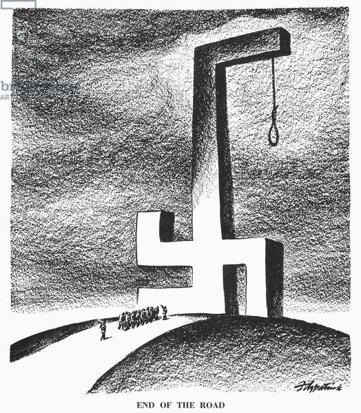 CARTOON: NUREMBERG TRIALS, 1946. 'End of the Road.' American cartoon on the Nuremberg trials of Nazi leaders for war crimes. Cartoon by D.R. Fitzpatrick, 1946.