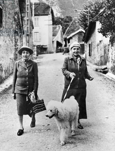 STEIN AND TOKLAS, 1944 American writer Gertrude Stein (1874-1946) photographed in southeastern France in September 1944 with her companion, Alice B. Toklas (left).