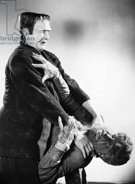 FRANKENSTEIN & WOLFMAN American film still from 'Frankenstein Meets the Wolf Man,' 1943, with Bela Lugosi as the Frankenstein Monster and Lon Chaney Jr. as The Wolf Man