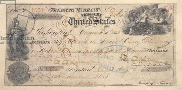 ALASKA PURCHASE: CHECK Check for .2 million from the United States Treasury made out to Eduard de Stoeckl, Russian Minister to the United States, as payment for the Alaska territory, pursuant to the agreement reached between the Russian and American governments the previous year.