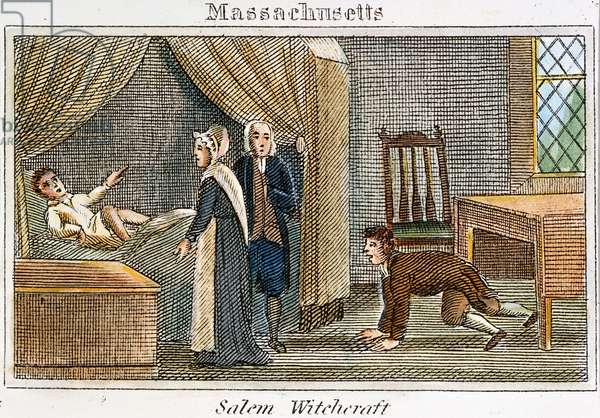 SALEM WITCHCRAFT, 1692 The witchcraft delusion at Salem, Massachusetts, in 1692. Line engraving, American, c.1830.