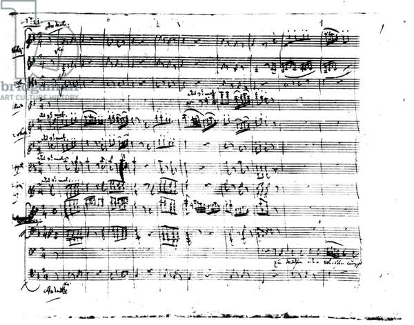 Autograph manuscript of 'The Magic Flute', 1791 (pen & ink on paper)
