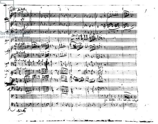 Autograph manuscript of 'The Magic Flute', 1791 (pen & ink on paper)