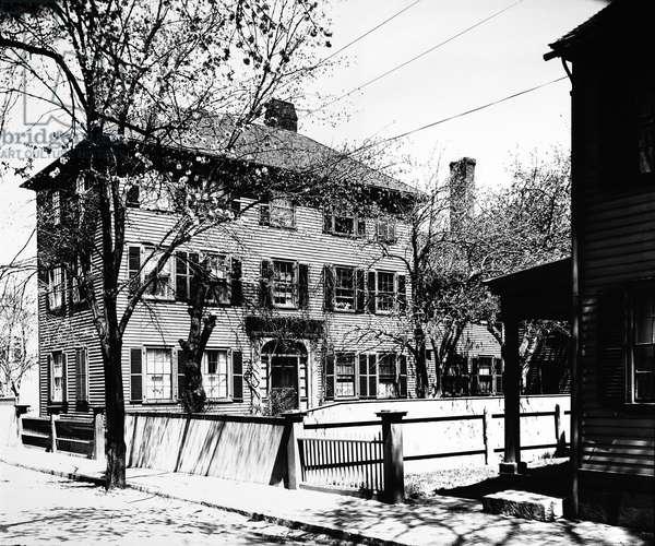 NATHANIEL HAWTHORNE (1804-1864). American writer. Hawthorne's home at Salem, Massachussetts. Photographed c.1900.
