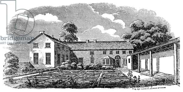 BRONTË: BOARDING SCHOOL The clergy daughters' boarding school attended by the Brontë sisters, the original of the 'Lowood School' in 'Jane Eyre.' Wood engraving, 19th century.
