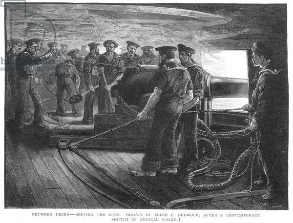 CIVIL WAR: UNION SAILORS Between decks of a Union gunboat during the American Civil War: wood engraving, 1885, after a contemporary sketch by Rear Admiral Henry Walke (1809-1896).