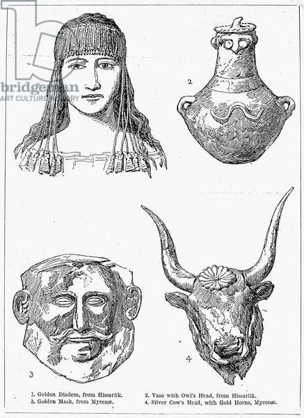 HEINRICH SCHLIEMANN (1822-1890). German traveler and archaeologist. Artifacts excavated by Schliemann in 1871 at Hissarlik, Turkey (diadem and vase), site of ancient Troy; and at Mycenae (mask and cow's head) in 1876.