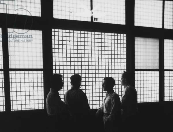 ELLIS ISLAND, 1947 Detainees at Ellis Island. Photograph, 1947.