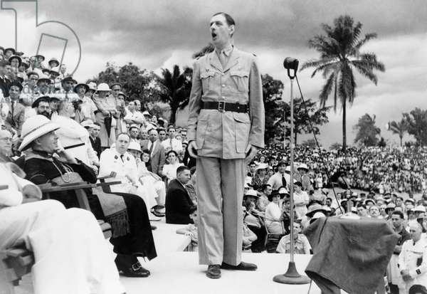 CHARLES DE GAULLE (1890-1970). French soldier and statesman. Photographed giving a speech in Brazzaville, Congo, 1944.