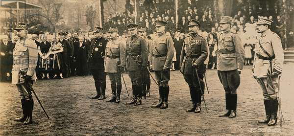 WORLD WAR I: ALLIED FORCES From left, General Henri Philippe Petain, French commander in chief; Marshal Joseph Joffre of France; Marshal Ferdinand Foch of France, Allied Supreme Commander; Field Marshal Sir Douglas Haig, British Expeditionary Force commander; and General John J. Pershing, American Expeditionary Force commander, 1918.
