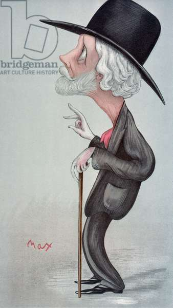 GEORGE MEREDITH (1828-1909) English novelist and poet. Caricature, 1896, by Max Beerbohm.
