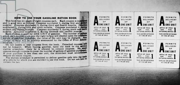 WAR RATION STAMPS, c.1943 American gasoline ration stamps issued during World War II, c.1943.